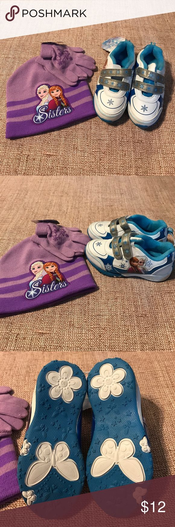 Frozen kid Girl shoes hat glove bundle/ size 10 Frozen Disney bundle/ new/ size 10 shoes frozen Shoes Sneakers