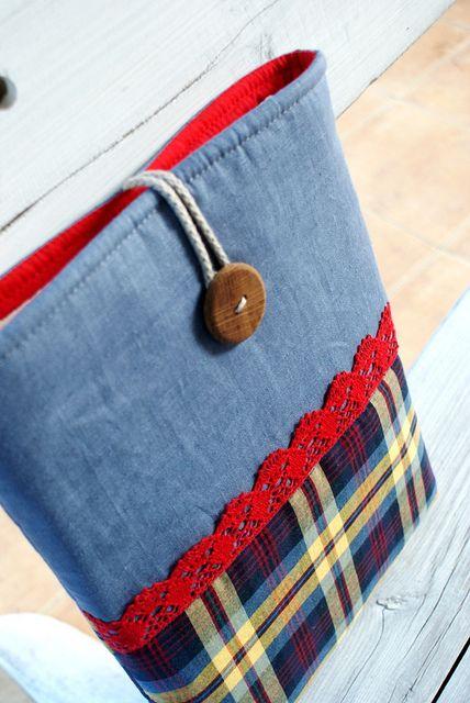 iPad Sleeve Case by SandraStJu, via Flickr ... love denim - plaid - lace