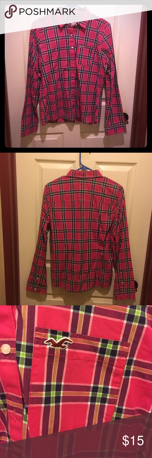 Pink flannel shirt Hollister flannel shirt with pocket. Only worn once. I bought it for a themed party but it's too big fo me. In perfect condition. Make me an offer. Hollister Tops Button Down Shirts