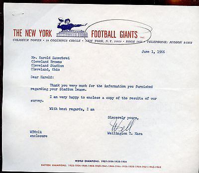 June 1 1966 New York Giants NFL Football Letter Signed by  Wellington Mara