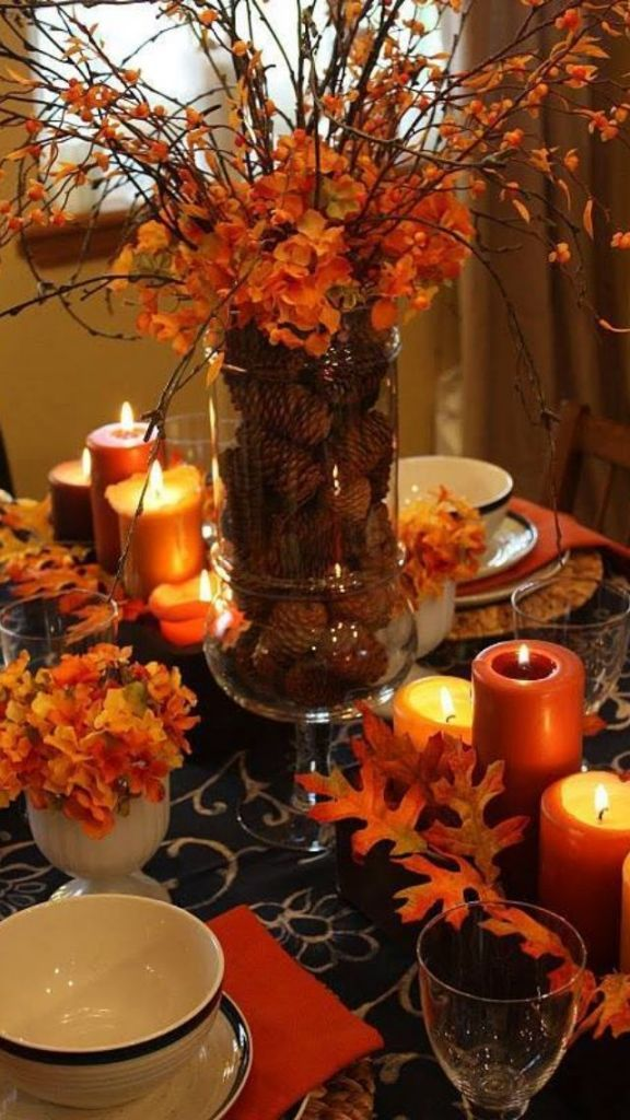 orange silk floral and pine cone fall wedding centerpieces