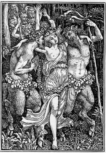 Nymph between two satyrs, Book Illustration by Walter Crane for The Faerie Queene, 1897
