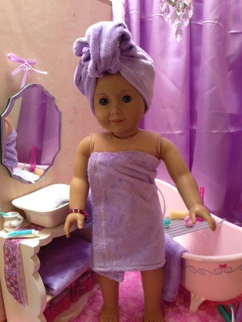 American Girl doll ideas for bath improvements and bath towel tutorial.