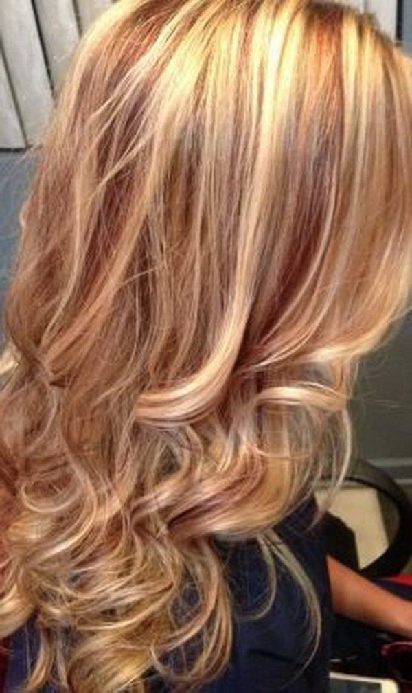 Long Wavy Blonde Hair with Red Highlights.