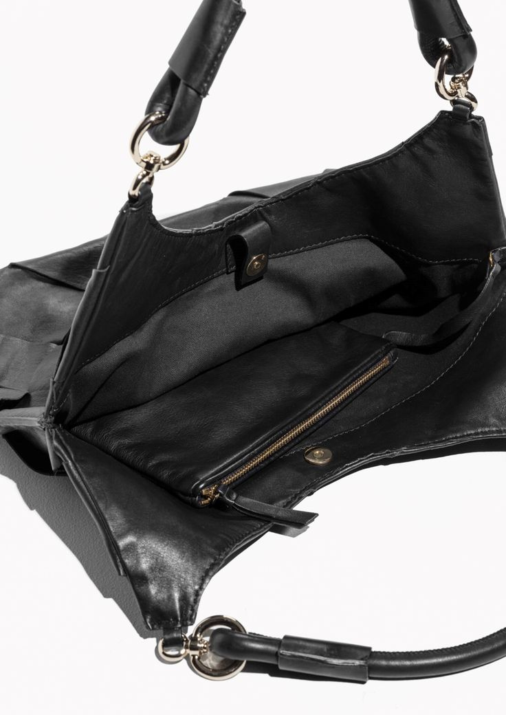 & Other Stories image 3 of Braided Leather Tote in Black