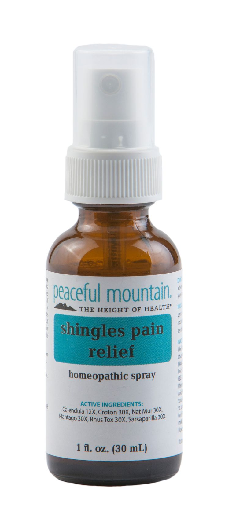 Now your search for Shingles relief is over! Shingles Pain Relief by Peaceful Mountain is a revolutionary combination of homeopathic components such as Plantago Major 30X, known for its healing properties, and Rhus Tox 30X, known to provide relief from discomfort. A natural milk derivative in the formula acts as an enabler for these specific homeopathics to quickly penetrate to the inflammation site, which may enhance rapid pain relief.
