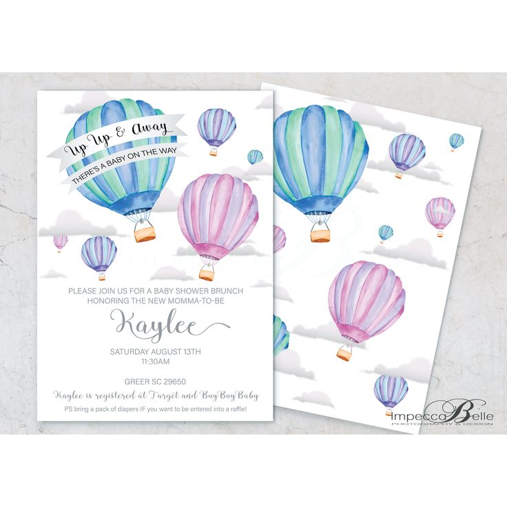Up Up and Away / Hot air balloon themed baby shower invitation  by ImpeccaBelle Photography & Design. Can be customised to your needs