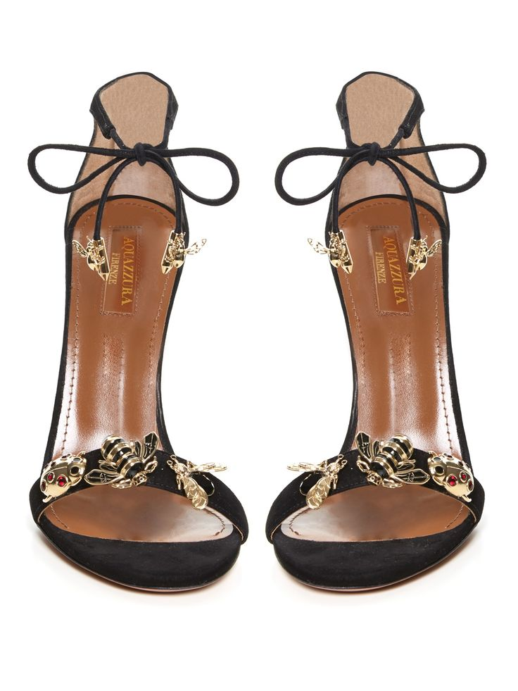 AQUAZZURA Fauna insect-embellished suede sandals