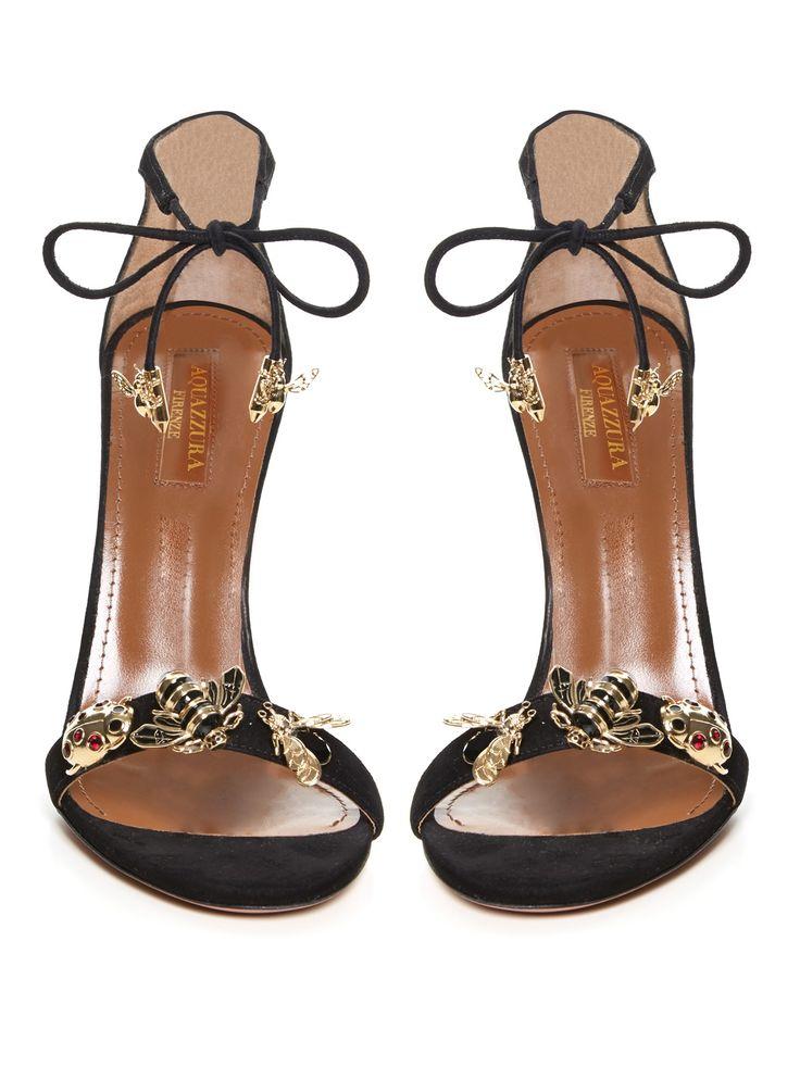 AQUAZZURA Fauna insect-embellished suede sandals