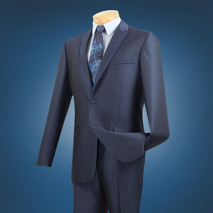 NEW MIDNIGHT BLUE COLOR MEN'S FASHION SLIM FIT SUITS TONE ON TONE STRIPE