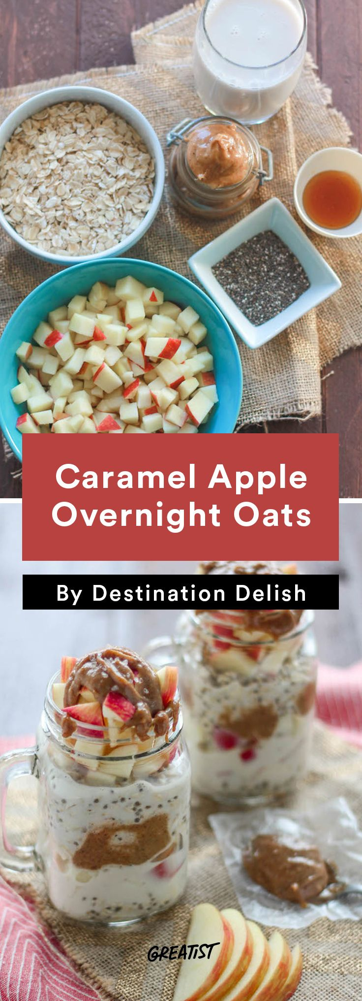 These caramel apple overnight oats from @greatist taste just like dessert!