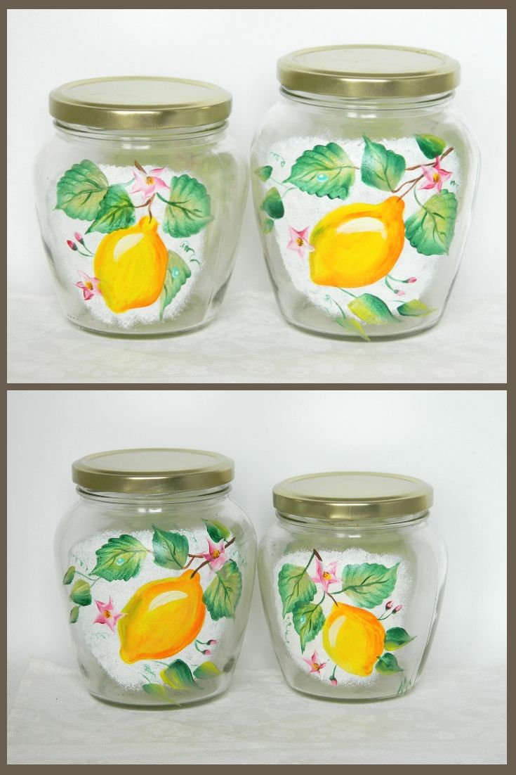 Hand Painted Glass Jars With Lid Jam Pot Kitchen Canister Set