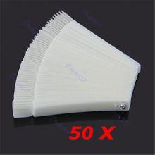 Venda quente 50 Pçs/lote Ferramentas Unhas Branco Transparente Falso Nail Art Tips Varas Exibição Polonês Fan Prática Ferramenta de Bordo alishoppbrasil