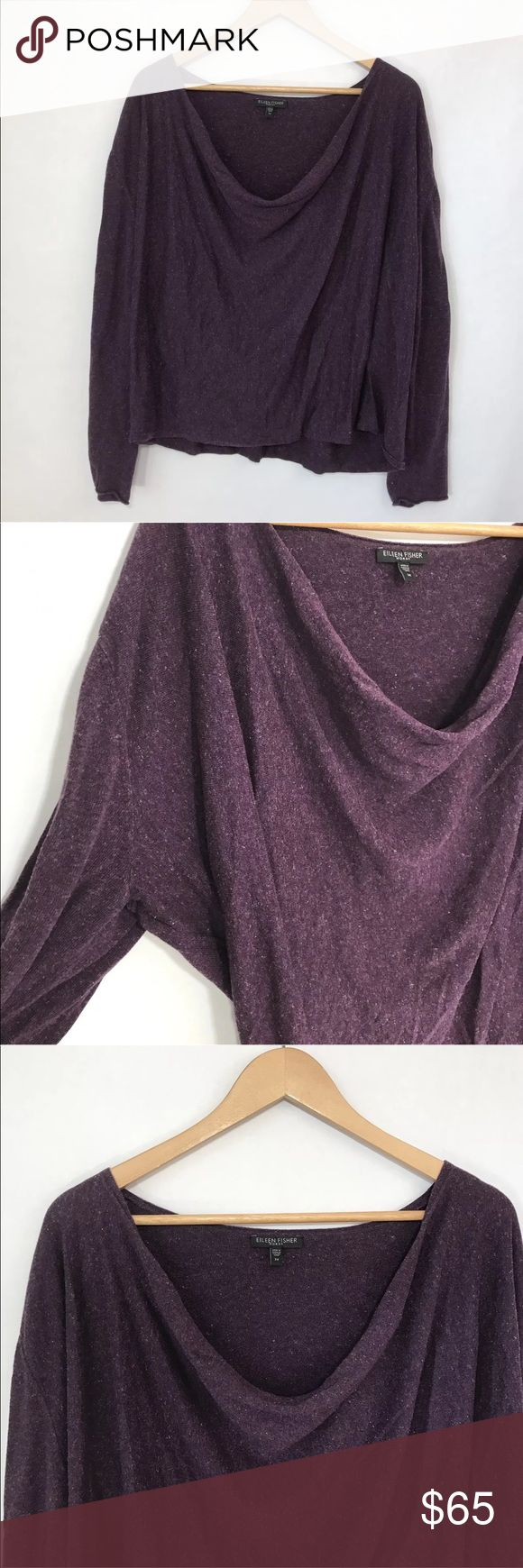 {Eileen•Fisher} Linen Blend cowl Neck sweater Eileen Fisher Womens Cowl Neck Sweater Plus Size 3x Linen Cotton Blend Purple   Bust across lying flat: 31 inches   Length from tag to hem down the middle: 26 inches   Made of Italian Yarn Eileen Fisher Sweaters Cowl & Turtlenecks