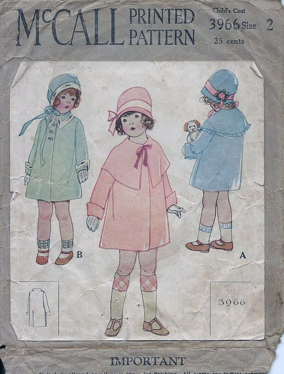 30s Mccall 3966 Girls Coat Sewing Pattern Cut Patterns Vintage