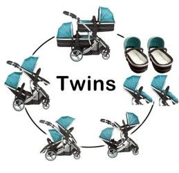 Duellette 21 combo Twin double pushchair Tandem stroller buggy Double pram Travel system : 2 carrycots converts to 2 seat units, Compatible with 2 Kidz Kargo safety pod Car seats 0+ from birth to 15 months (sold separately), 2 Rain covers, Teal Mist by Kidz Kargo