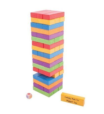 kolorowa jenga firmy Bigjigs - super zabawki drewniane na www.kidsabc.pl