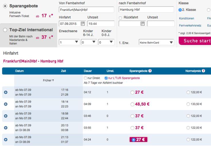Ltur Bahn Tickets günstig, Kurzfristig Bahntickets buchen