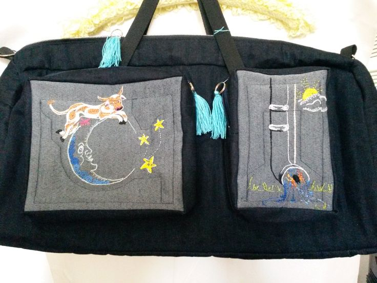 diaper bag with hand embroidered nursery rhyme designs