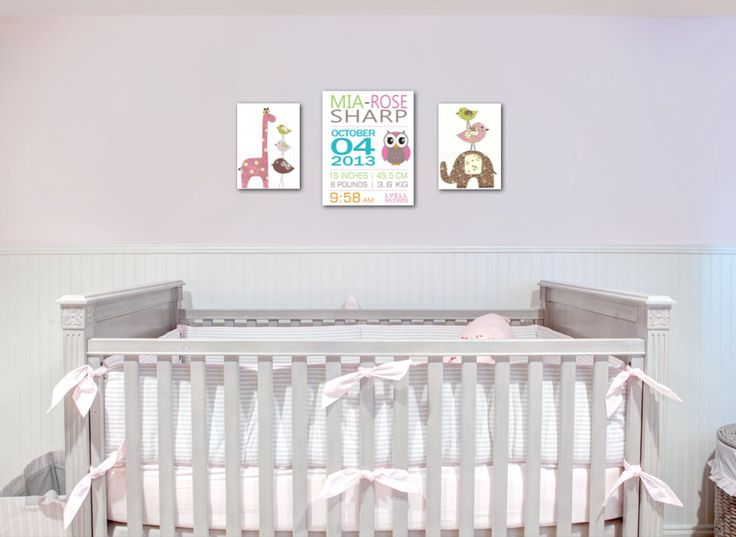 2x 22cm x 30cm, 1 x 32cm x 40cm baby birth and animal nursery wall art canvas print set