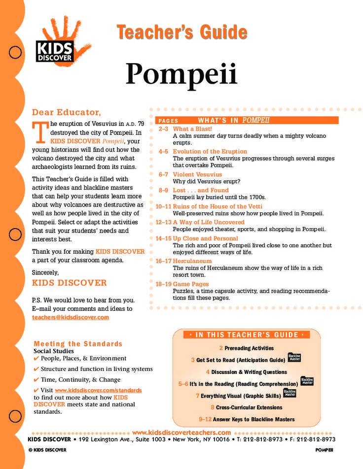 TEACHER'S GUIDE: POMPEII http://www.kidsdiscover.com/free-lesson-plans/tg-pompeii/