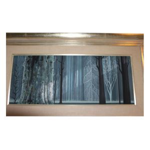 """Signed """"Eyvind Earle"""" and dated """"1966"""" lower right. With fabric mat and in giltwood frame.  Height 12 in. x Width 42 in. (sight), Height 24 in. x Width 42 in. (framed)  Condition: appears good  Pr..."""