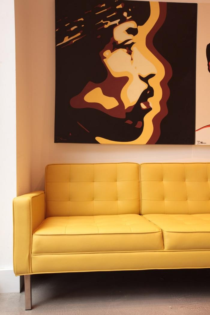 Retro Sofa in Mustard Faux Leather. Love the colour & style. Add & funky cushions to finish this look
