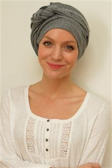 Cancer chemo long tying turban scarf in cool cotton and modal.