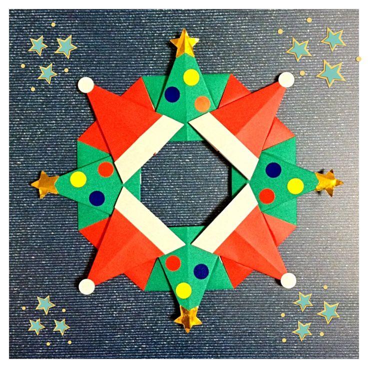 サンタ帽とツリーで出来たリースです 半分に切った折り紙を使うので 正方形の折り紙4枚で折ることができます 丸シ […]