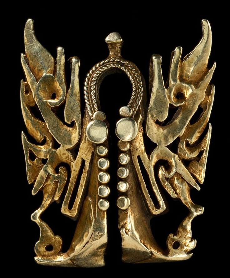 Indonesia | 'Tiganja' Heirloom Ornament from the Palu, Kaili, Panona and Kulawi Peoples, of Lake Poso, Sulawesi | Gold | ca. 19th century or earlier | Taiganja are mysterious objects that are clearly related to the omega form of earring known in Sumba as a mamuli and in the Philippines as a ling lingo, but they display some features uniquely their own. From the side, they can appear to be the head of a dragon in flight; viewed vertically, one senses a bird with wing wide spread. | POR