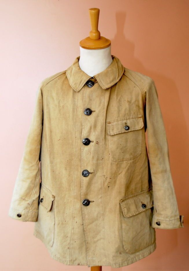 VTG 1920s FRENCH CANVAS HUNTING JACKET CHORE COUNTRY SHOOTING COAT WORK WORKWEAR