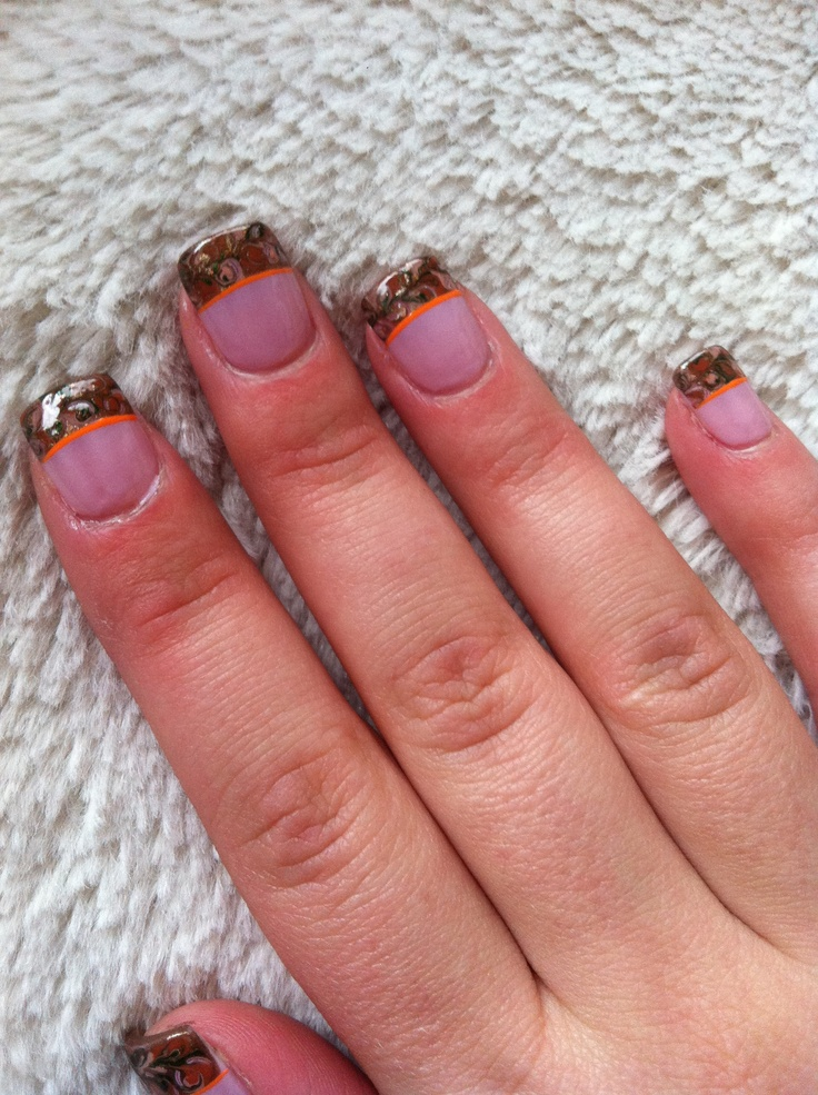 Camo nails :) with pink line instead