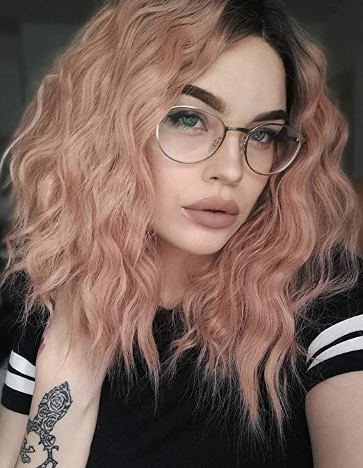 K ryssma Short Bob Wavy Lace Front Wigs for White Women Ombre Dark Roots to  Mixed Pink Glueless Synthetic Hair Wig Heat Resistant Middle Parting bfc9924cba