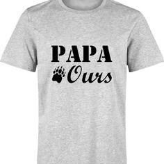 Papa ours : t-shirt gris pour homme s à xxl - 100% fait-main