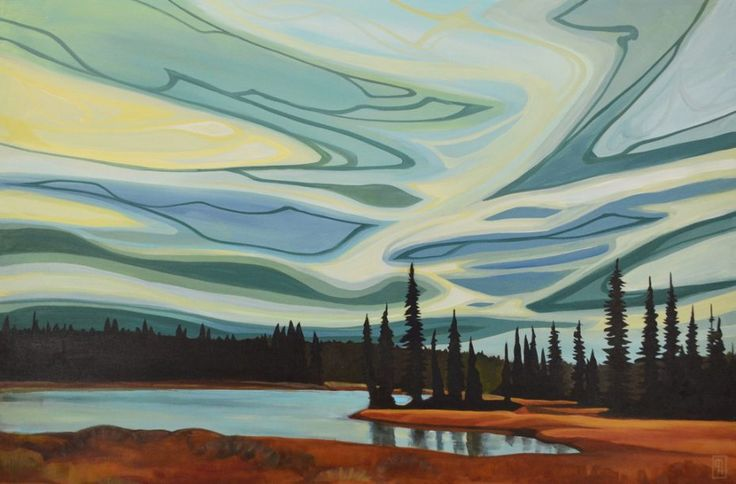 Painting by Erica Hawkes Size: 24″x 36″ Kananaskis