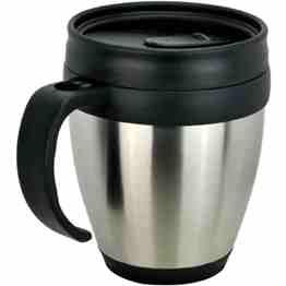 450 ml, Interior: Plastic, Exterior: Stainless Steel, Double Walled, Packaging: Plastic Bag + White Box. http://bit.ly/19dEu2J