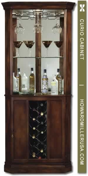690000 Howard Miller Cherrytraditional corner wine cabinet PIEDMONT