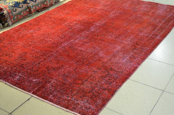 Red overdyed rug. Vintage overdyed rug. rugs. by turkishrugman