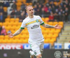 St Johnstone vs Celtic, 14th February 2015 Leigh Griffiths celebrates in Celtic's white third kit after scoring for the Bhoys.
