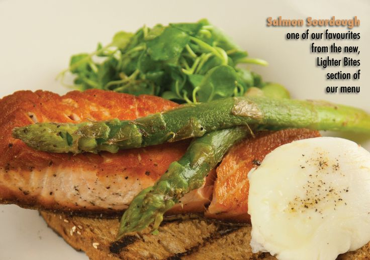 Salmon Sourdough @ Old Post Office, Wallingford Josper-grilled fillet of salmon on toasted sourdough with asparagus, fresh dill and soft-poached free-range egg