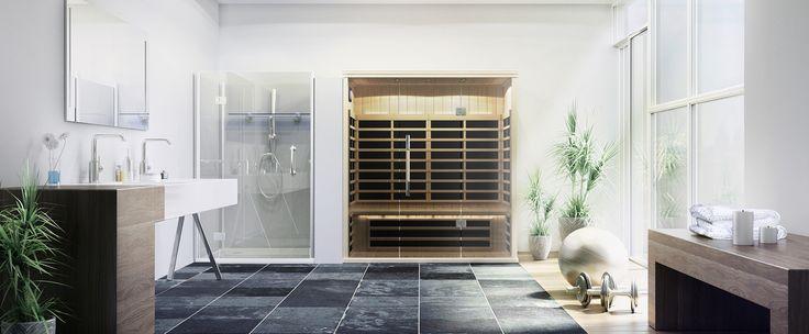 Built-in infrared sauna room in bathroom. #sauna #diamondfitness #bathroom #health #relax #detox #luxury #saunas