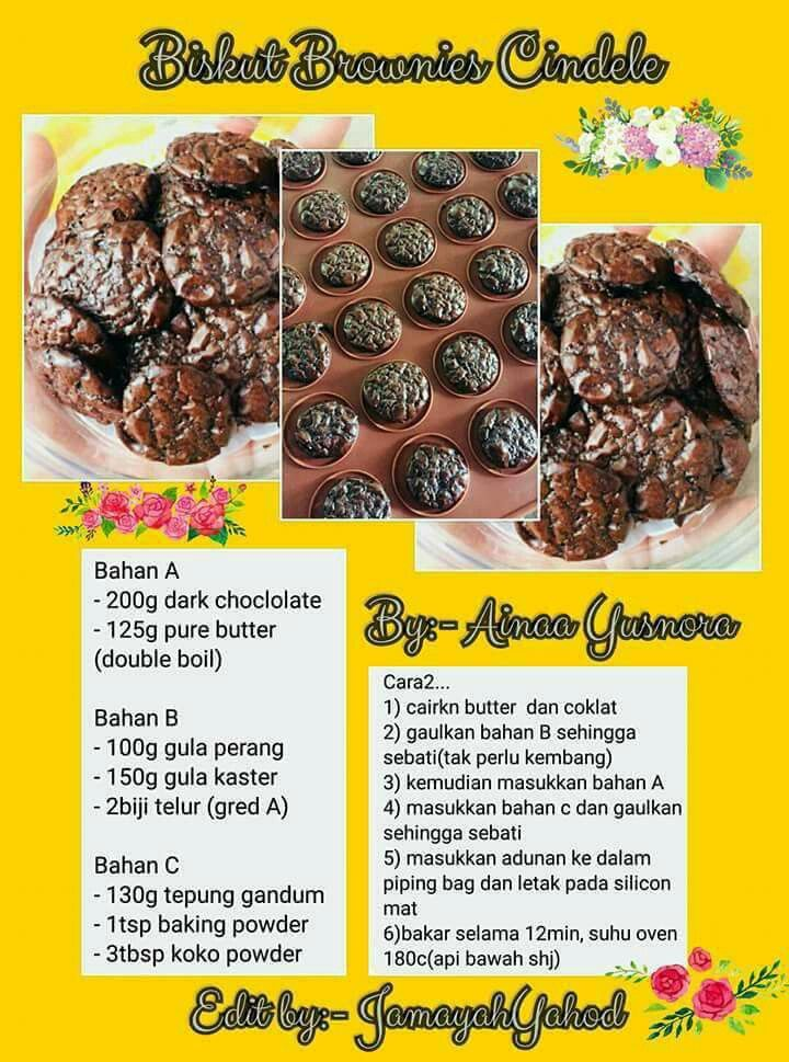 Biskut Brownies Kedut Cookie Recipes Yummy Cookies Homemade Recipes