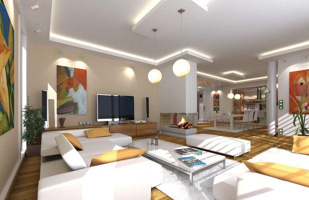 Świetny, duży, jasny salon. Idealnie zaaranżowane podświetlenie. Panoramiczny kominek ociepli pomieszczenie, pełni również ciekawą funkcję dekoracyjną. Zobacz ten projekt :)