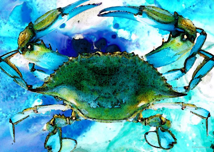blue-crab-abstract-seafood-painting-sharon-cummings.jpg (900×641)