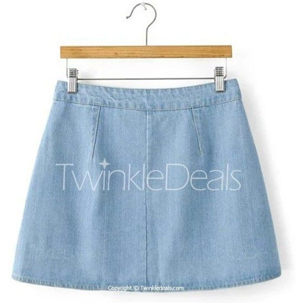 Stylish Denim Solid Color A-Line Mini Skirt For Women Light Blue ($15) ❤ liked on Polyvore featuring skirts, mini skirts, a line denim skirt, blue denim skirt, short skirts, light blue denim skirt and short blue skirt