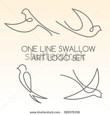 One line swallow art logo set