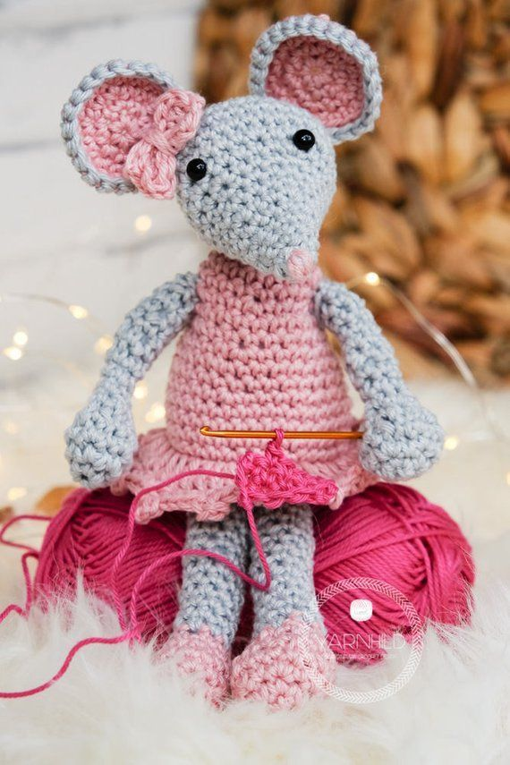 English, Description: A crochet pattern for a sweet mouse amirugumi plush toy. T…