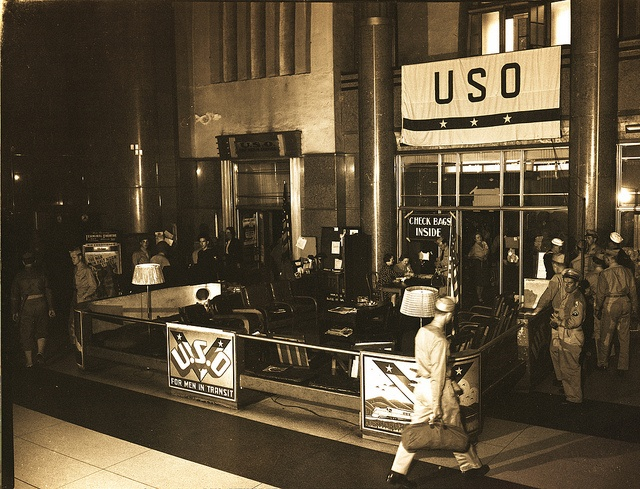 This shows the 'porch', just outside of the main #USO room in #UnionTerminal, the Rookwood Tea Room.  During #WorldWarII, this USO Troops in Transit Lounge, the first to open in the entire country, served men and women service personnel traveling by #train. #CincyMuseum Betz-Marsh Collection SC#309