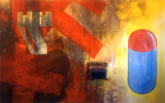 Thermo-Medolox. Oils and mixed media on canvas (diptych). 8x13ft. Early 1990s.