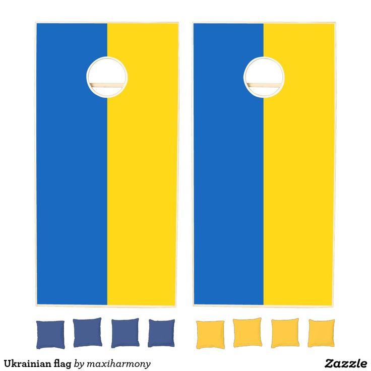 Ukrainian flag cornhole set